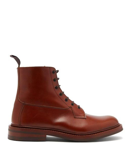 Tricker's - Brown Burford Leather Derby Boots for Men - Lyst