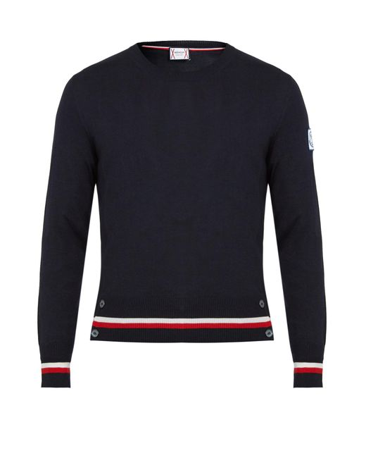 Moncler Gamme Bleu | Blue Contrast-striped Cashmere And Silk-blend Sweater for Men | Lyst