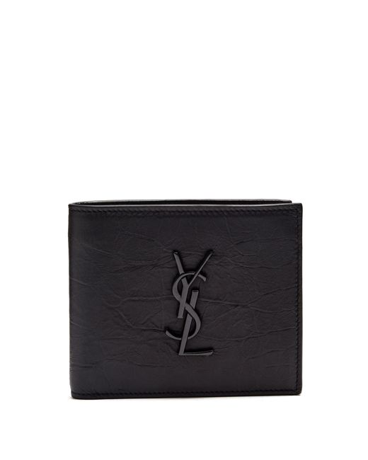 Saint Laurent - Black Monogram Crocodile Effect Bi Fold Leather Wallet for Men - Lyst