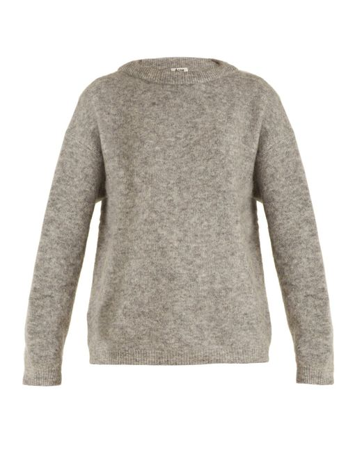 Acne - Gray Dramatic Round-neck Brushed-knit Sweater - Lyst
