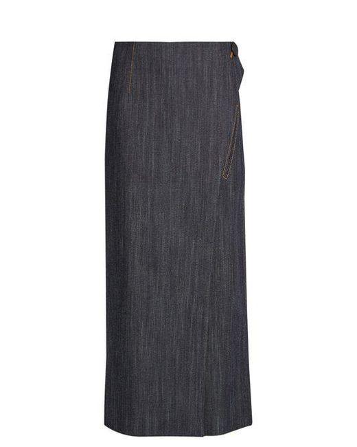 Adam Lippes - Blue Denim Wrap Skirt - Lyst