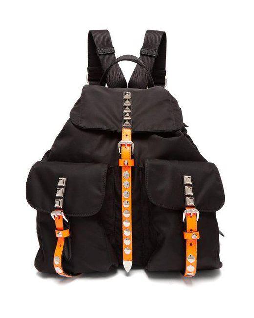 c52cbd83d62e ... leather backpack lyst 88140 e5224 hot prada black new vela studded  nylon backpack lyst 99e11 f3669 ...