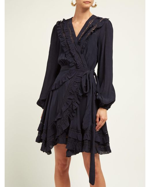 Zimmermann Moncur Frill Trimmed Silk Wrap Dress In Blue Lyst