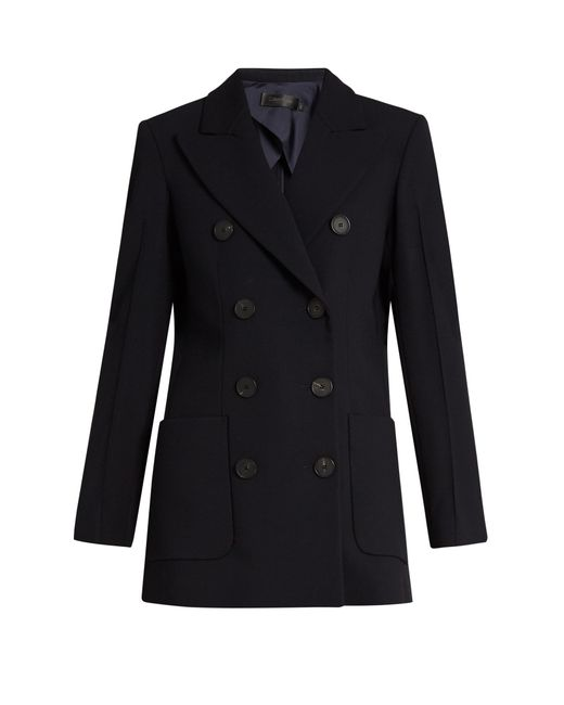 Calvin Klein | Blue Double-Breasted Crepe Tailored Jacket | Lyst
