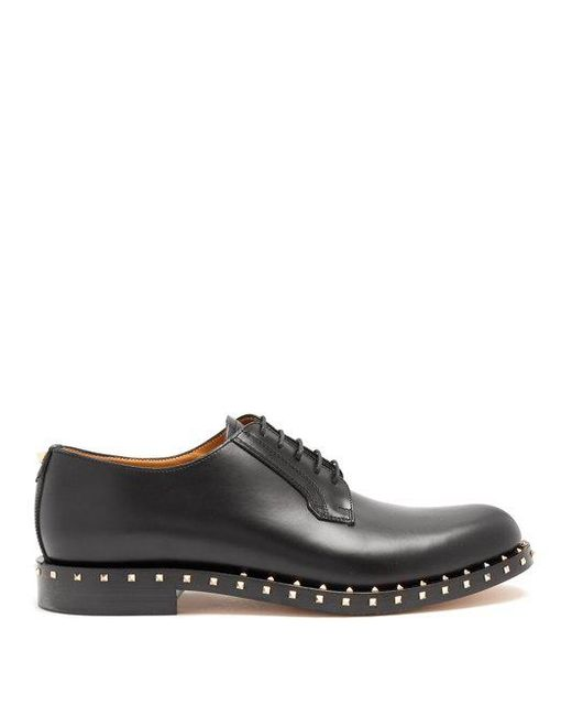 Valentino - Black Rockstud Studded Lace-up Derby Shoe for Men - Lyst