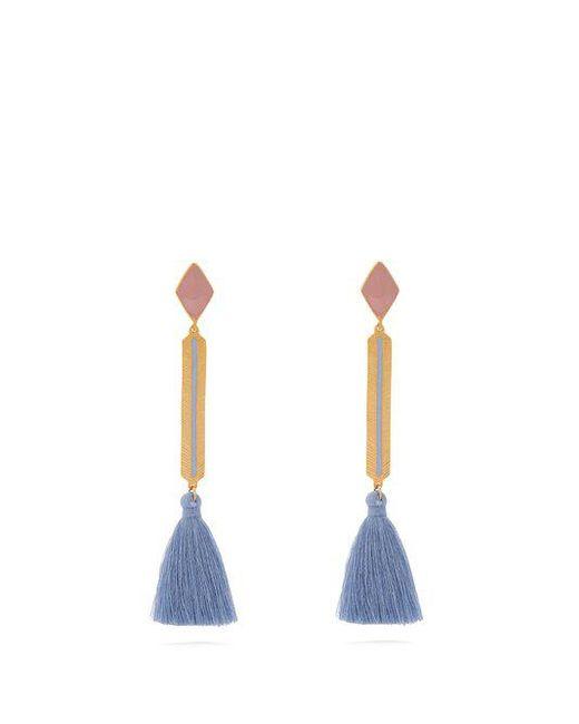 Marte Frisnes - Pink Izzy Gold-plated Tassel-drop Earrings - Lyst