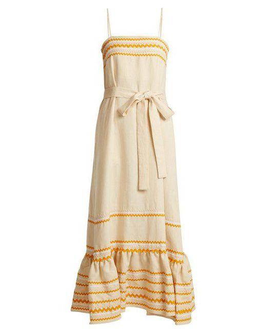 Lisa Marie Fernandez - Natural Ric-rac Trimmed Linen Slip Dress - Lyst