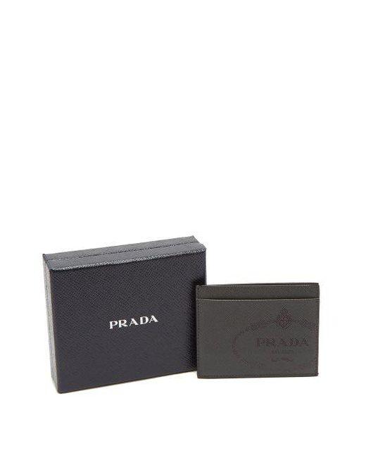 b2af28e7e40 ... cheap prada gray saffiano leather card holder for men lyst 23fd1 b151b