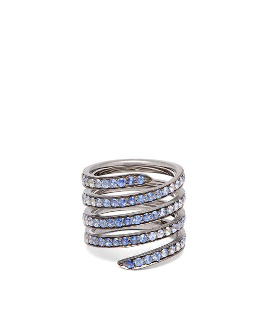 Lynn Ban - Metallic Ombré Sapphire & Rhodium Silver Coil Ring - Lyst