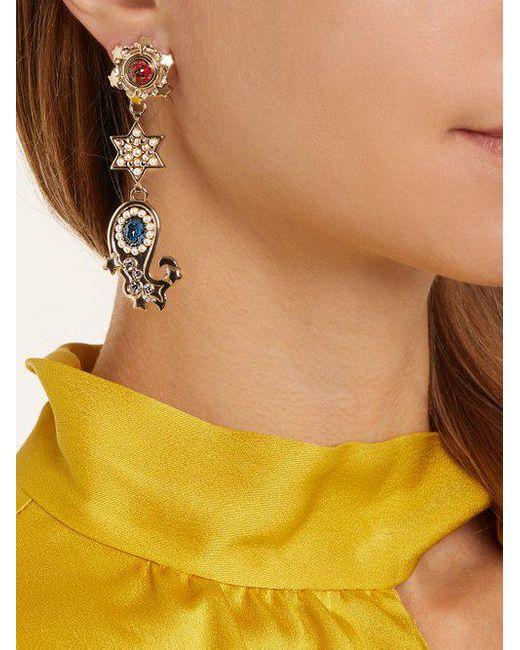 Etro Crystal-embellished paisley motif earrings YD2BTFD