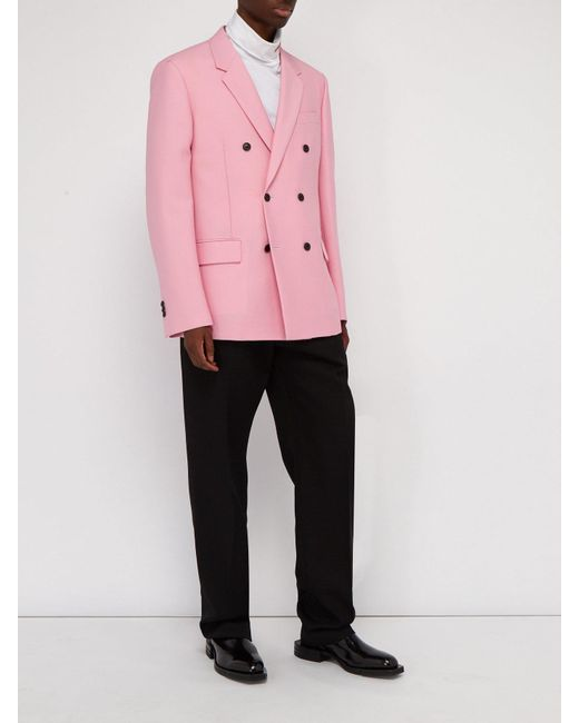 b44c4bf2b35a ... CALVIN KLEIN 205W39NYC - Pink Double Breasted Mohair Blend Blazer for  Men - Lyst ...