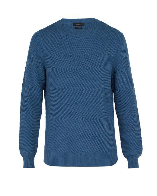 Ermenegildo Zegna - Blue Ribbed Knit Cashmere Sweater for Men - Lyst