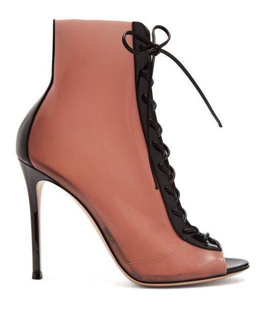 Gianvito Rossi Patent & Latex Ree Lace Up Ankle Boots in Neutrals. X8hoK