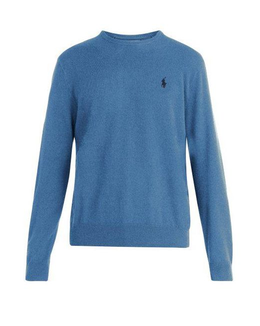 logo con bordado Lyst azul lana hombres de Suéter para Ralph Lauren de Polo  pqSwIUxZ 73445465ee7e