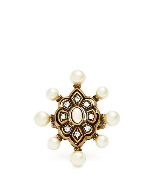 Gucci - Metallic Pearl Embellished Ring - Lyst