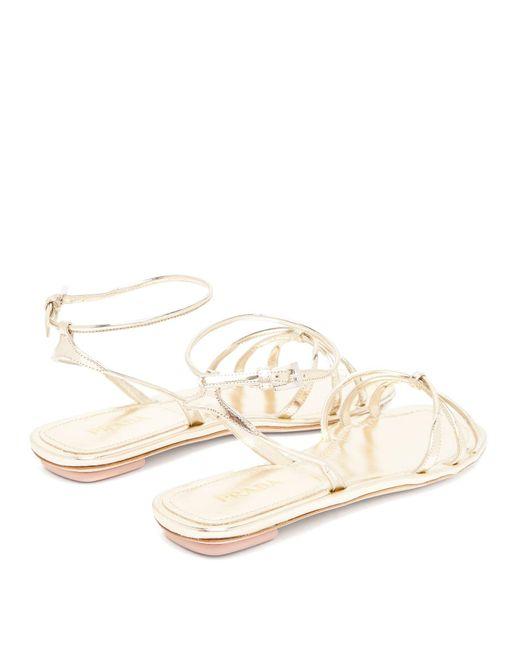 4abe3eef9544 Lyst - Prada Knot Front Metallic Leather Sandals in Metallic