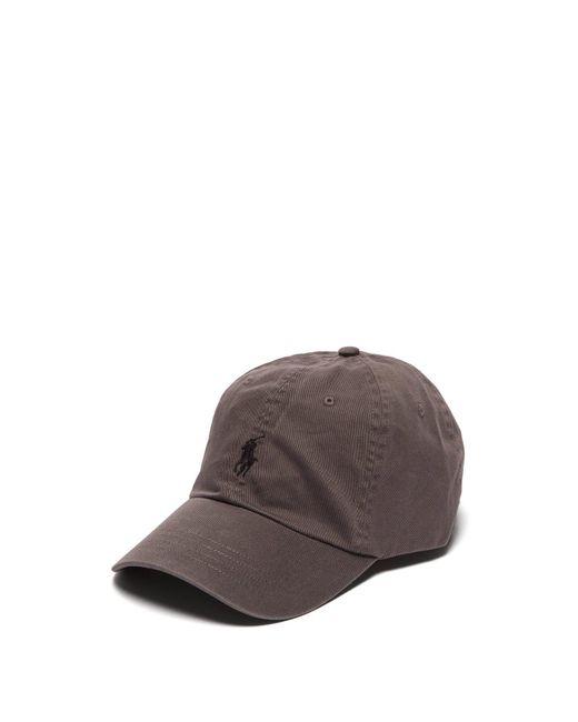 Ralph Lauren Purple Label - Gray Logo Embroidered Cotton Cap for Men - Lyst