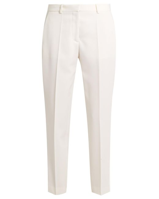 Stella McCartney | White Mid-rise Wool Cropped Tuxedo Trousers | Lyst