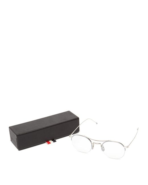 ad0dbd73e9ab ... Thom Browne - Metallic Round Metal Optical Glasses for Men - Lyst ...