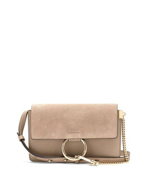 Chloé - Gray Faye Small Suede And Leather Cross-body Bag - Lyst