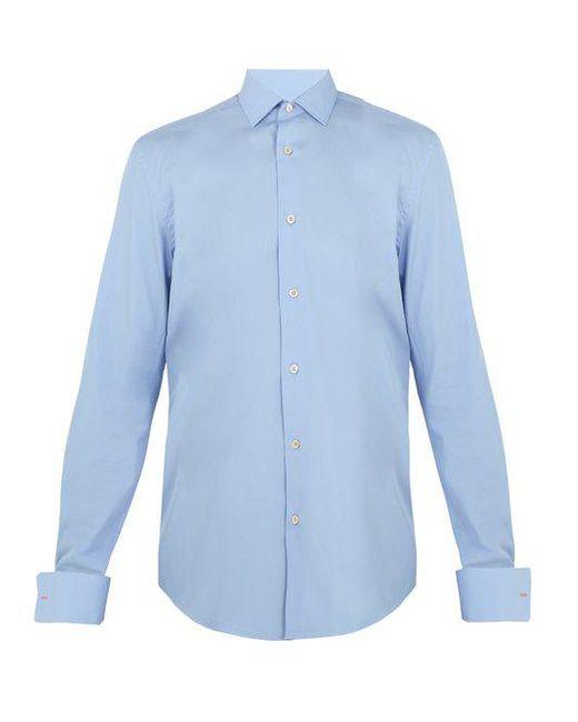 Paul Smith - Blue Double-cuff Cotton-poplin Shirt for Men - Lyst