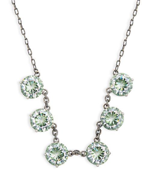 Bottega Veneta | Green Cubic-zirconia And Oxidised-silver Necklace | Lyst