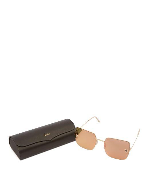 fcc0ebb790a0d ... Cartier - Metallic Panthère Mirrored Square Lens Sunglasses - Lyst ...