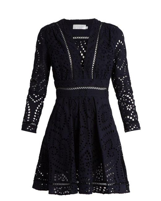Zimmermann | Blue Ryker Broderie-anglaise Cotton Dress | Lyst