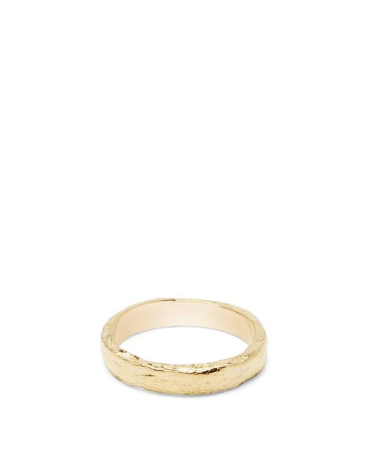 Pearls Before Swine Metallic Textured Gold Plated Ring for men