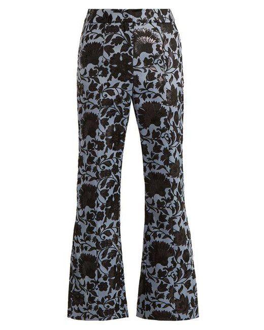 Erdem - Black Eda Floral-jacquard Flared Trousers - Lyst