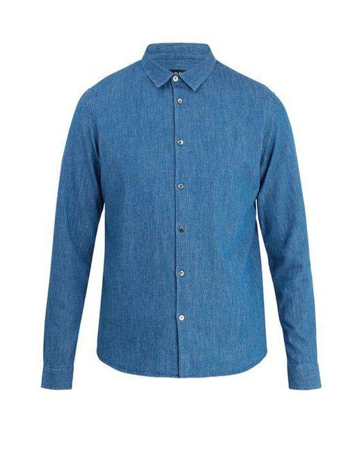 A.P.C. - Blue Point-collar Denim Shirt for Men - Lyst