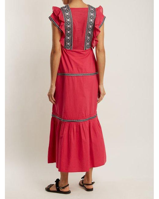 Bodrum V-neck ruffle-trimmed cotton dress Daft qC4SC8K