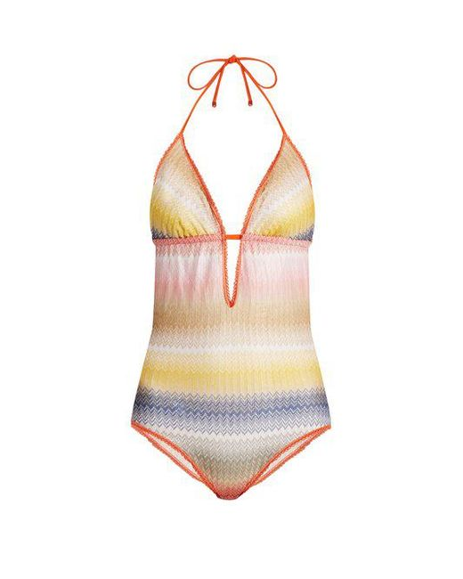 Missoni - Multicolor Zigzag-striped Halterneck Swimsuit - Lyst