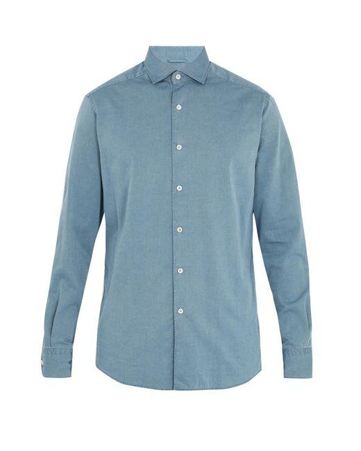 Ermenegildo Zegna   Blue Point-collar Cotton-chambray Shirt for Men   Lyst