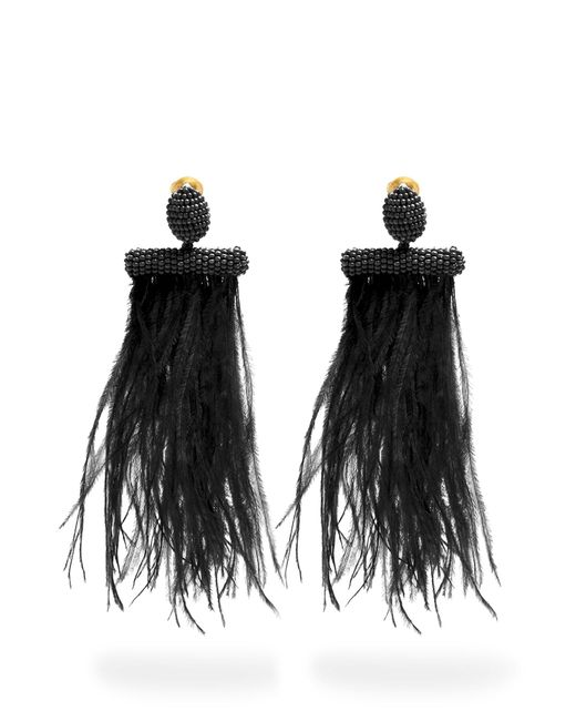 Oscar de la Renta | Black Feather-embellished Tassel-drop Clip-on Earrings | Lyst