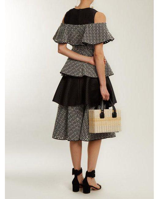 Soren ruffled geometric-embroidered dress Huishan Zhang 2uioTd