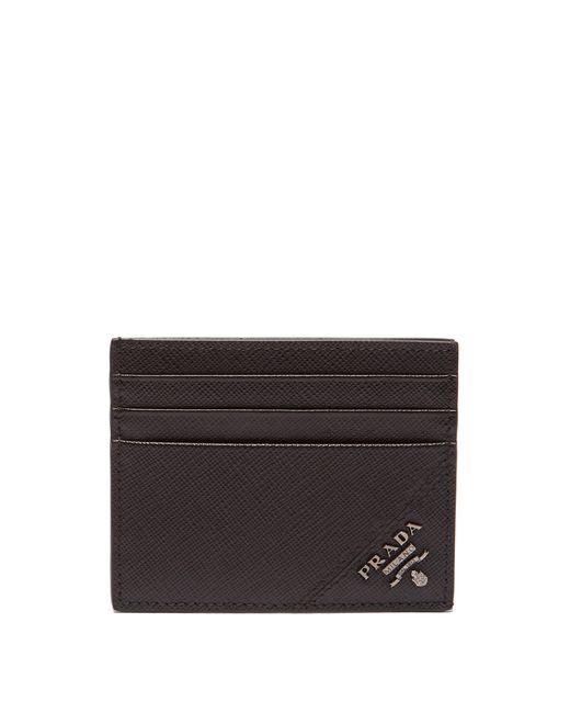 Prada - Black Saffiano Leather Metallic Embellished Cardholder for Men - Lyst