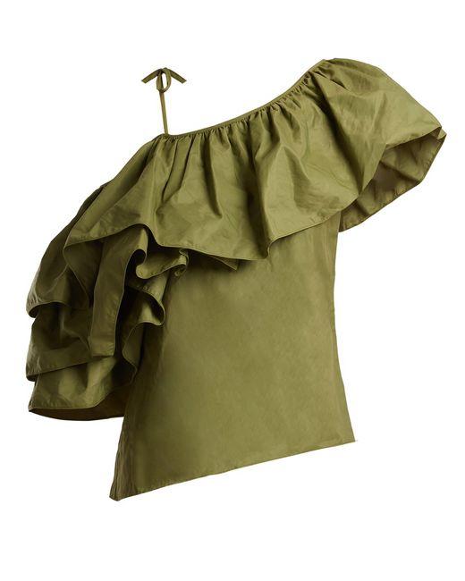 Marques'Almeida - Green One Shoulder Taffeta Top - Lyst