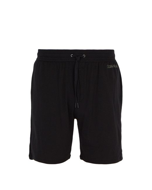 354493a3650 Calvin Klein - Black Logo Print Pyjama Shorts for Men - Lyst ...