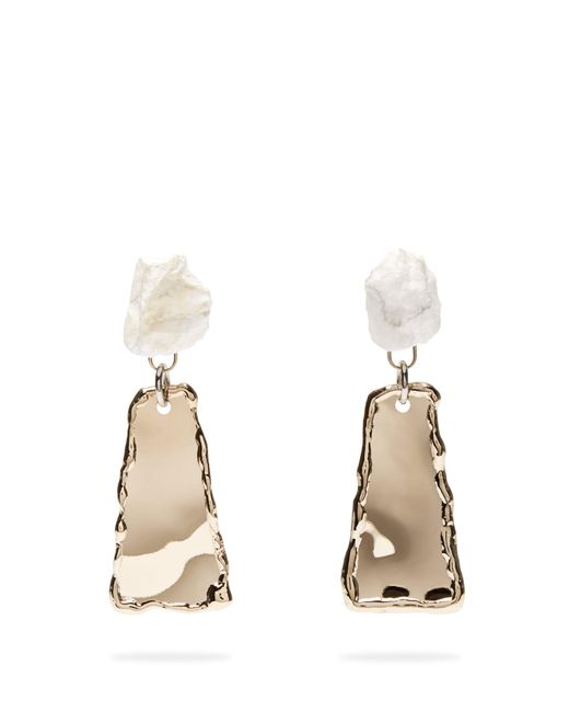 Proenza Schouler - Gray Stone Hammered Clip On Earrings - Lyst
