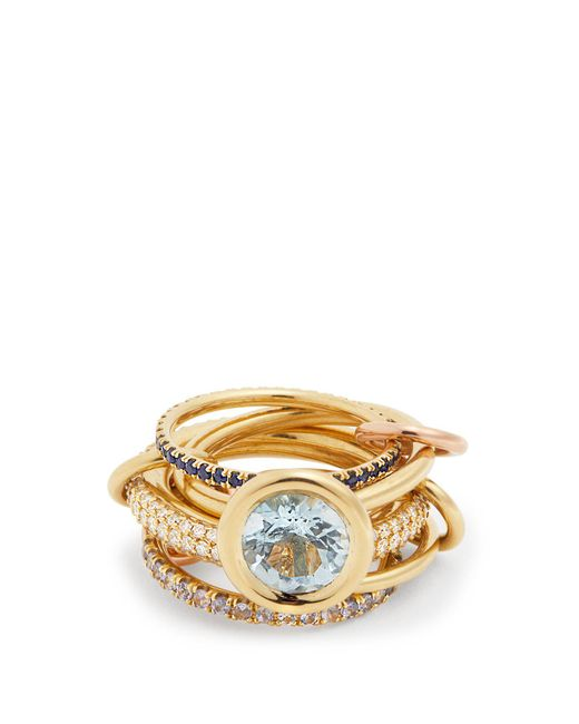 Spinelli Kilcollin - Blue Rana Diamond, Yellow-gold & Rose-gold Rings - Lyst