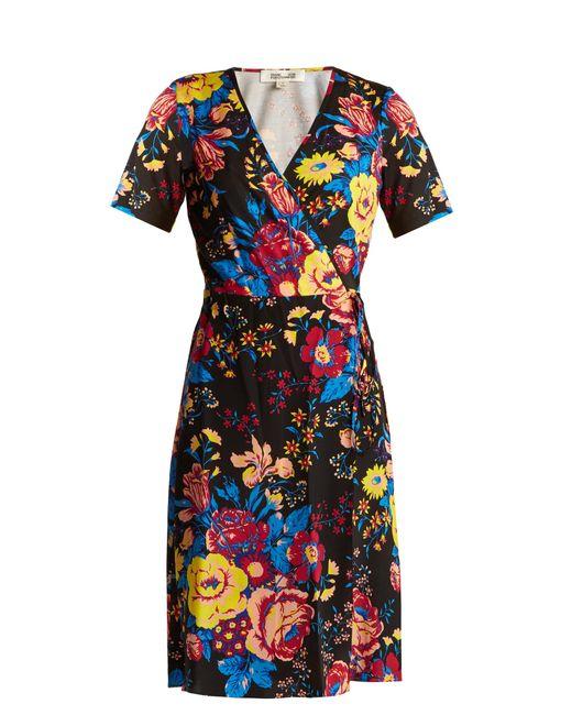 Diane von Furstenberg   Black Bournier Floral-print Silk Wrap Dress   Lyst