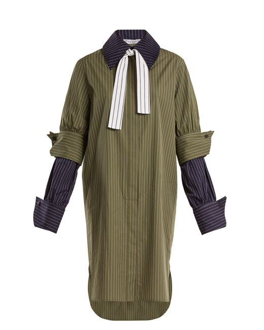 J.W. Anderson - Green Double-cuff Pinstriped Cotton Shirtdress - Lyst