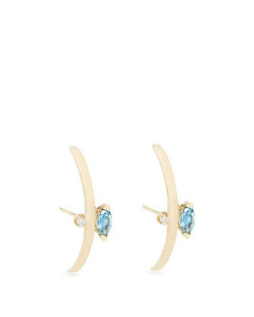 Loren Stewart - Blue Diamond, Topaz And Yellow Gold Earrings - Lyst