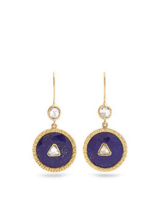 Jade Jagger - Blue Diamond, Lapis & Yellow-gold Earrings - Lyst