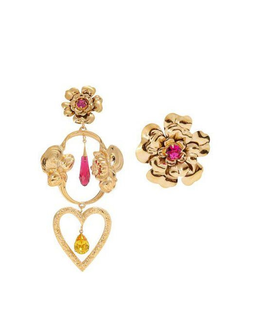 Rodarte Metallic Flower Asymmetric Gold Plated Earrings Lyst