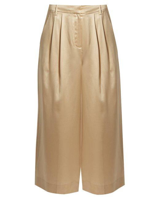 Tibi - Natural Mid-rise Wide-leg Cropped Silk-satin Trousers - Lyst