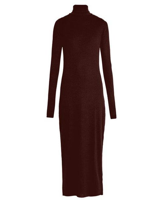 Raey - Purple Roll-neck Ribbed Fine-knit Cashmere Dress - Lyst
