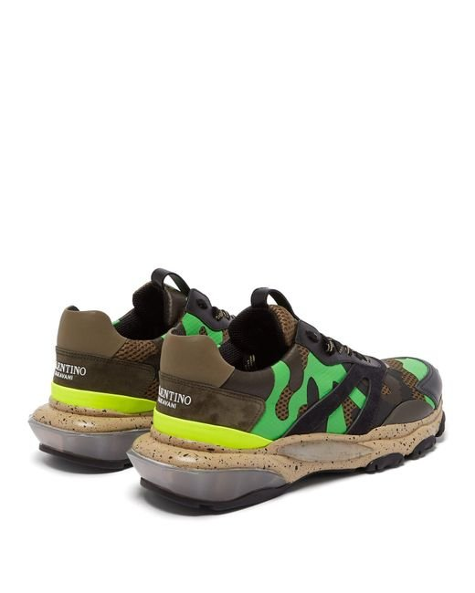 5d5c37d6c ... Valentino - Green Bounce Raised Sole Low Top Leather Trainers for Men -  Lyst ...
