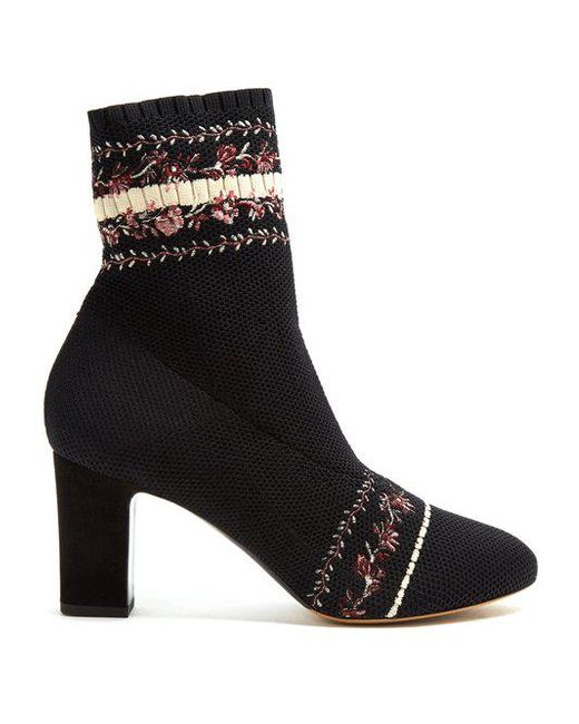 Tabitha Simmons - Black Anna Floral-embroidery Sock Ankle Boot - Lyst ...